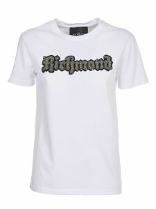 John Richmond White T-shirt With Embellished Logo
