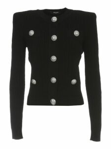 Balmain Buttoned Pleated Knit Cardigan