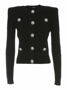 Balmain Buttoned Pleated Knit Cardigan