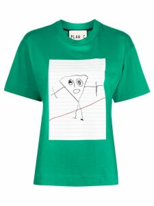 Plan C drawing print T-shirt - Green