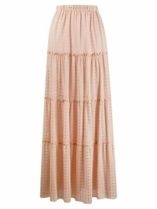 Fisico elasticated gathered-detail maxi skirt - NEUTRALS