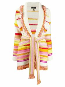 Alanui oversized striped knitted cardigan - White