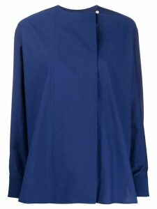 Paul Smith long-sleeved collarless blouse - Blue