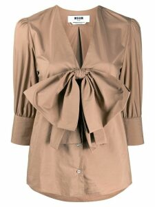 MSGM bow-detail V-neck blouse - Brown