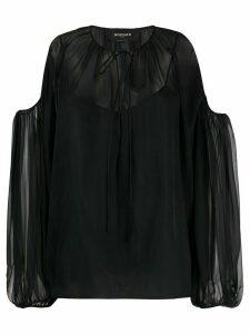 Rochas cold-shoulder sheer blouse - Black