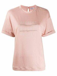 Brunello Cucinelli embellished print T-shirt - PINK