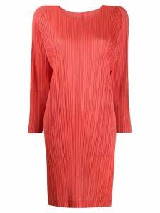 Pleats Please Issey Miyake split-hem pleated dress - ORANGE