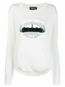 Markus Lupfer sequin lips sweater - White