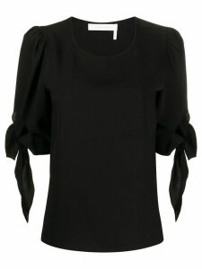 See by Chloé tie-cuffs round-neck blouse - Black