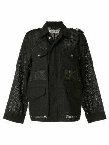 Tu es mon TRÉSOR embroidered single-breasted jacket - Black