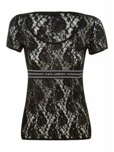 Dolce & Gabbana Floral Lace Logo T-shirt