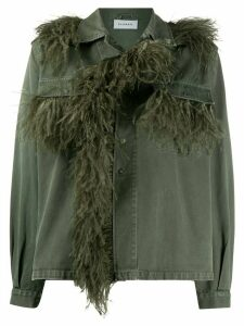 P.A.R.O.S.H. denim feather embellished jacket - Green