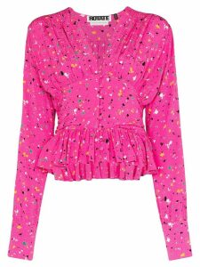 ROTATE Tracy paint splash-print blouse - PINK