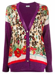 LIU JO metallized leopard-print cardigan - PURPLE
