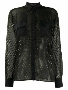 Frankie Morello sheer metallic print shirt - Black