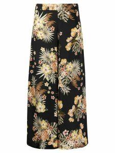LIU JO floral print wide trousers - Black