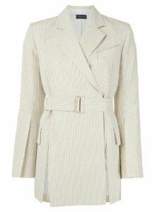 Eudon Choi striped belted jacket - White