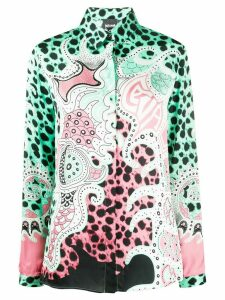 Just Cavalli colour-block long sleeve blouse - Green