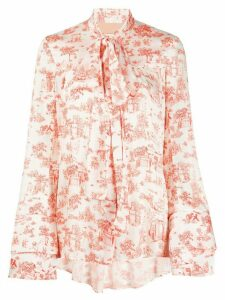 Ssheena woodland print blouse - White