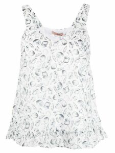 Twin-Set V-neck shell print vest top - White