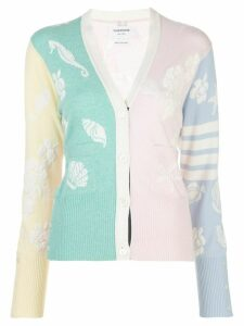 Thom Browne cashmere jacquard sea motifs cardigan - Green