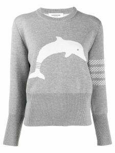 Thom Browne 4-bar dolphin motif knitted top - Grey