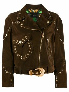 Versace suede studded jacket - Brown