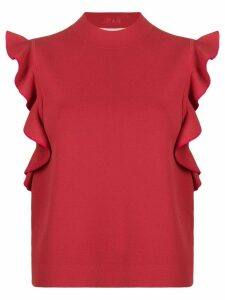 Karl Lagerfeld colour-block ruffle top - Red