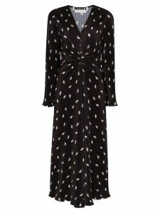 ROTATE Number 7 plissé midi dress - Black
