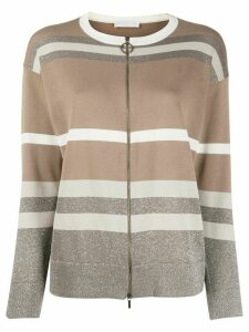 Fabiana Filippi zip up striped-knit cardigan - Brown