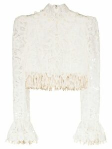 Zimmermann cropped fringed lace blouse - White