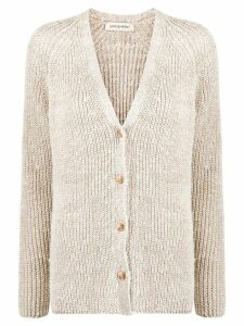 Gentry Portofino ribbed knit cardigan - NEUTRALS
