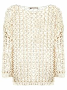 Gentry Portofino loose net jumper - NEUTRALS