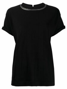 Brunello Cucinelli monili-trimmed T-shirt - Black
