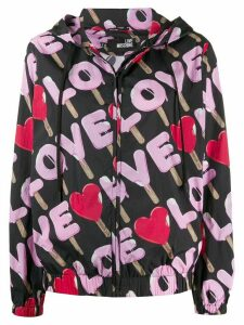 Love Moschino love print rain jacket - Black