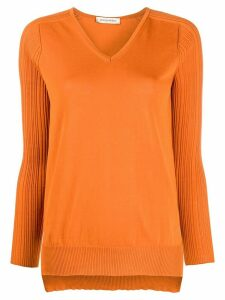 Gentry Portofino ribbed cotton jumper - ORANGE