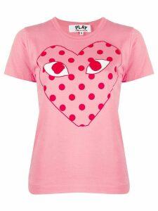 Comme Des Garçons Play polk-dot heat print T-shirt - PINK