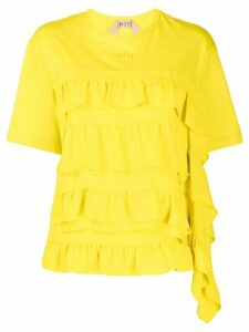 Nº21 ruffled round neck T-shirt - Yellow