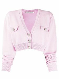 Alessandra Rich cropped fine knit cardigan - PINK