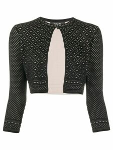 Paule Ka cropped geometric knit cardigan - Black