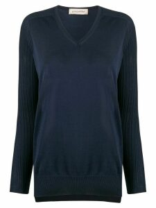 Gentry Portofino ribbed v-neck jumper - Blue