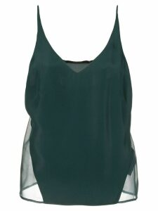 J Brand Lucy sheer-panel silk top - Green