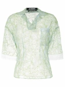 Jacquemus floral-embroidered sheer blouse - Blue