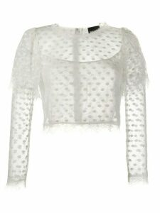 Just Cavalli cropped lace top - White