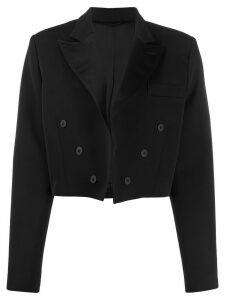 The Attico cropped double-breasted blazer - Black