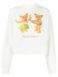 Palm Angels teddy bear print sweatshirt - White