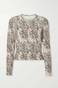 LESET - Jamie Ribbed Leopard-print Stretch-modal Cardigan - Leopard print