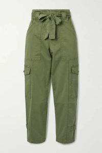 Alex Mill - Expedition Cropped Belted Washed Stretch-cotton Slim-leg Pants - Green
