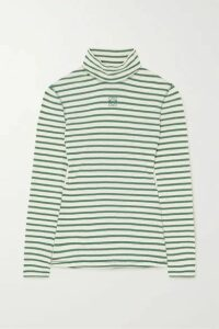 Loewe - Striped Cotton-jersey Turtleneck Top - Green