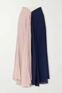 Roland Mouret - Orvana Color-block Pleated Georgette And Crepe Maxi Skirt - Navy